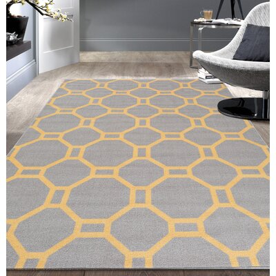 Walmsley Geometric Gray/Yellow Area Rug Rug Size: 53 x 73