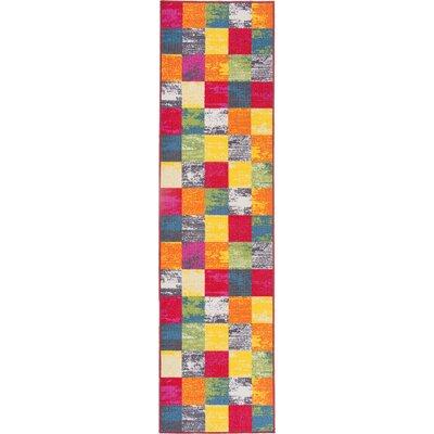 Avora Boxes Red/Orange Area Rug Rug Size: Runner 110 x 7