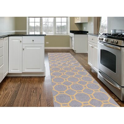 Avora Geometric Gray/Yellow Area Rug Rug Size: Runner 110 x 7