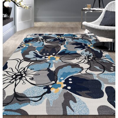 Princess Floral Gray/Blue Area Rug Rug Size: 5'3