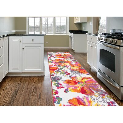 Princess Bright Flowers Orange/White Area Rug Rug Size: Runner 11 x 7
