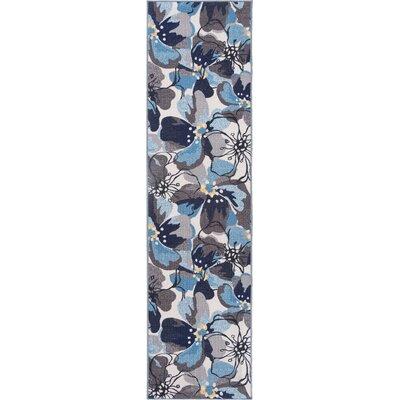 Avora  Floral Gray/Blue Area Rug Rug Size: Runner 110 x 7