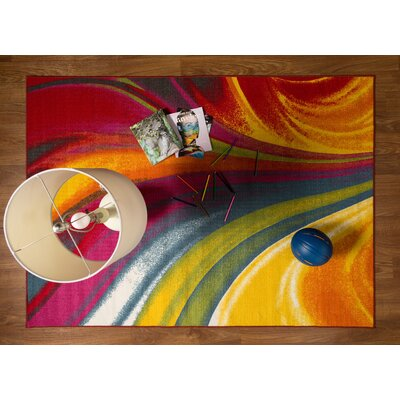 Eddie Red/Yellow Area Rug Rug Size: 53 x 73