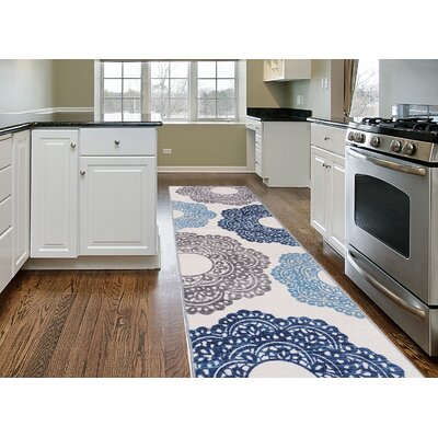 Raynor Blue Floral Area Rug Rug Size: Runner 11 x 7