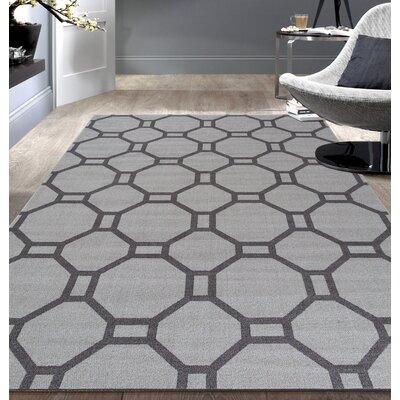 Walmsley Geometric Gray Area Rug Rug Size: 53 x 73