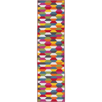 Avora Geometric Pink/Red Area Rug Rug Size: Runner 110 x 7