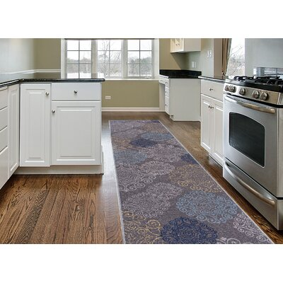 Raynor Gray Floral Swirl Area Rug Rug Size: Runner 11 x 7