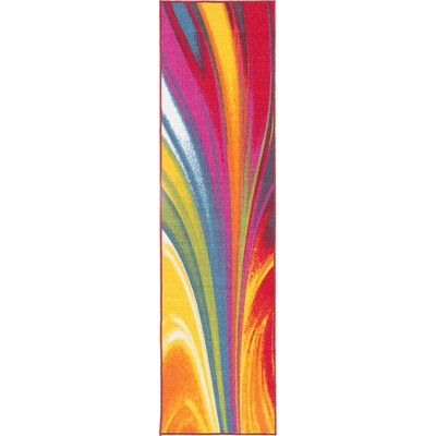 Avora Waves Red/Yellow Area Rug Rug Size: Runner 110 x 7