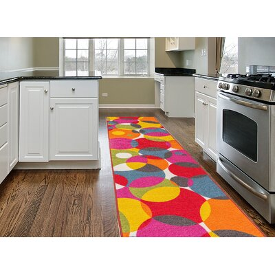 Avora Circles Pink/Red Area Rug Rug Size: Runner 110 x 7