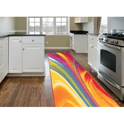 Eddie Red/Yellow Area Rug Rug Size: Runner 11 x 7