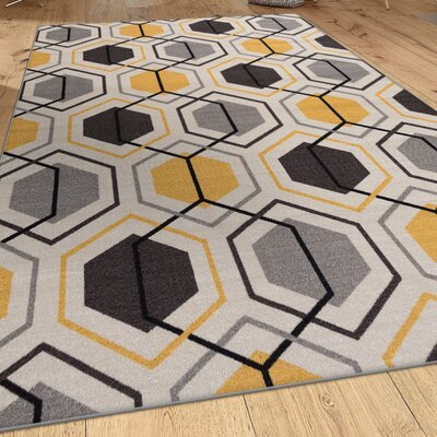 Roxbury Geometric Stripe Yellow Area Rug Rug Size: 53 x 73