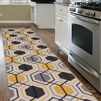 Princess Geometric Stripe Yellow Area Rug Rug Size: Runner 1'1 x 7'