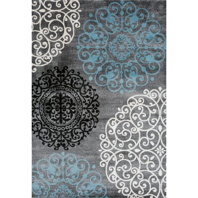Thomasson Floral Gray Area Rug Rug Size: 7'10