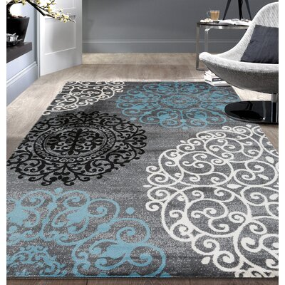 Thomasson Floral Gray Area Rug Rug Size: Runner 2 x 72