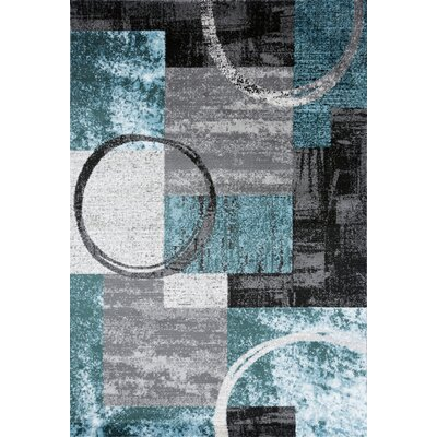 Federico Abstract Circle Gray/Blue Area Rug Rug Size: 2 x 3