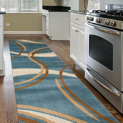 Ivette Contemporary Modern Wavy Circles Blue Area Rug