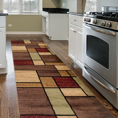 Melania Contemporary Modern Boxes Multi Area Rug