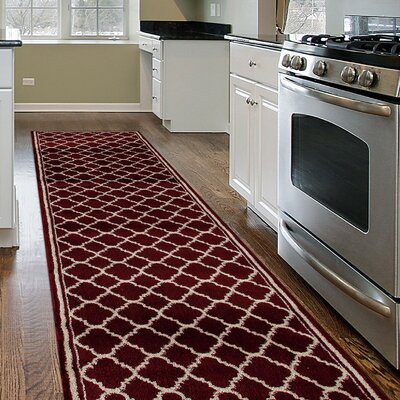 Marnie Trellis Contemporary Modern Design Burgundy Area Rug
