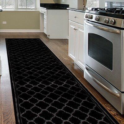 Moira Trellis Contemporary Modern Design Black Area Rug