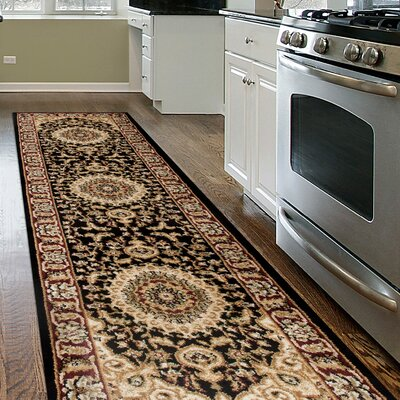Jacobson Traditional Oriental Medallion Design Black Area Rug