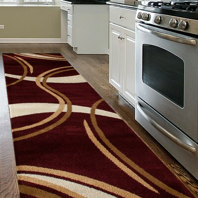 Kruse Contemporary Modern Wavy Circles Burgundy Area Rug