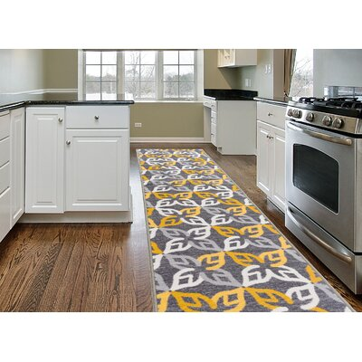 Imelda Contemporary Geometric Non-Slip Gray/Yellow Area Rug Rug Size: 2 x 8