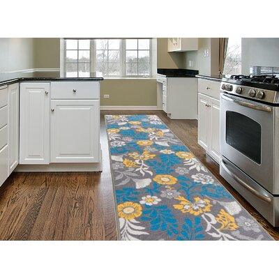 Imelda Contemporary Non-Slip Gray/Blue Area Rug Rug Size: 2 x 8