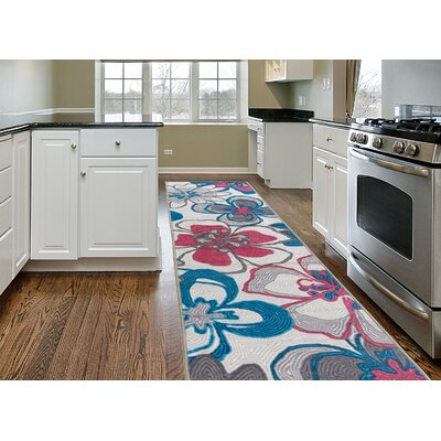 Hollie Modern Bright Flowers Non-Slip Gray Area Rug Size: 2 x 8