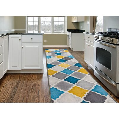 Imelda Contemporary Non-Slip Gray/Yellow/Blue Area Rug Rug Size: 2 x 8