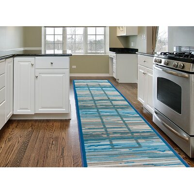 Donatien Contemporary Striped Design Non-Slip Gray Area Rug Rug Size: 2 x 8