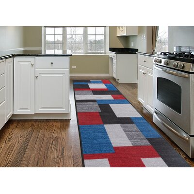 Fredia Contemporary Geometric Non-Slip Gray/Black/Red Area Rug Rug Size: 2 x 8