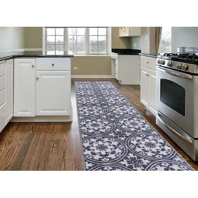 Tennessee Modern Floral Circles Design Non-Slip Gray Area Rug Rug Size: 2 x 8