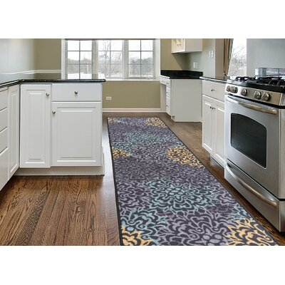 Imelda Modern Transitional Damask Non-Slip Purple/Yellow Area Rug Rug Size: Runner 11 x 7