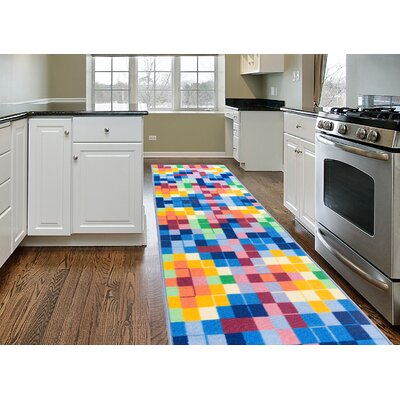 Karyn Modern Bright Boxes Design Non-Slip Blue/Yellow Rug Rug Size: 2 x 8