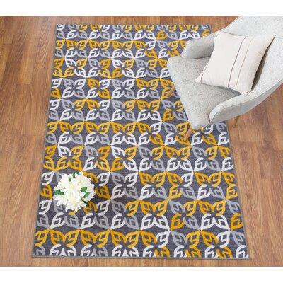 Imelda Contemporary Geometric Non-Slip Gray/Yellow Area Rug Rug Size: 5 x 8