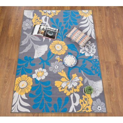 Imelda Contemporary Non-Slip Gray/Blue Area Rug Rug Size: 5 x 8