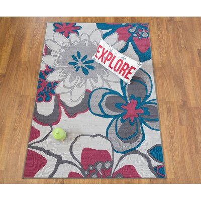 Hollie Modern Bright Flowers Non-Slip Gray Area Rug Size: Rectangle 5 x 7