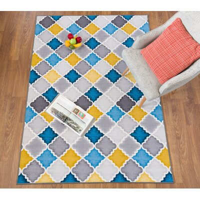 Imelda Contemporary Non-Slip Gray/Yellow/Blue Area Rug Rug Size: 8 x 10