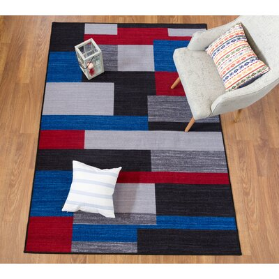 Fredia Contemporary Geometric Non-Slip Gray/Black/Red Area Rug Rug Size: 5 x 8