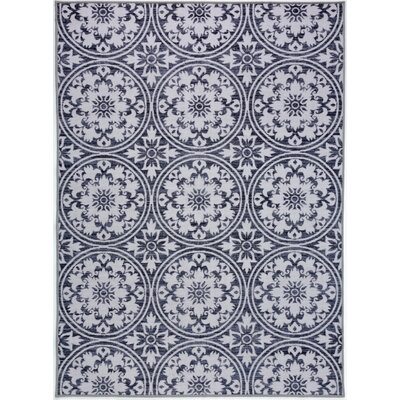 Tennessee Modern Floral Circles Design Non-Slip Gray Area Rug Rug Size: Rectangle 5 x 7