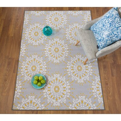Donatien Contemporary Circles Design Non-Slip Gray/Yellow Area Rug Rug Size: Rectangle 710 x 10