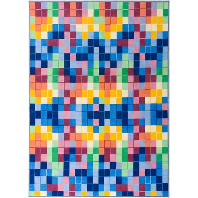 Karyn Modern Bright Boxes Design Non-Slip Blue/Yellow Area Rug Rug Size: Rectangle 5 x 7