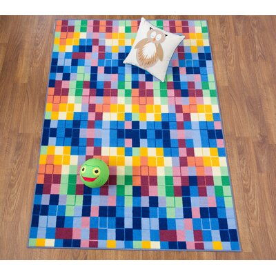 Karyn Modern Bright Boxes Design Non-Slip Blue/Yellow Rug Rug Size: 8 x 10