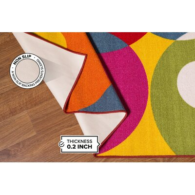 Holli Circles Pink/Red Area Rug Rug Size: 17 x 25
