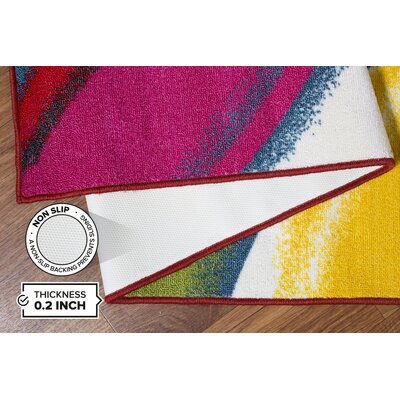 Holli Waves Red/Yellow Area Rug Rug Size: 17 x 25