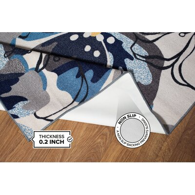 Domenique Floral Gray/Blue Area Rug Rug Size: 17 x 25