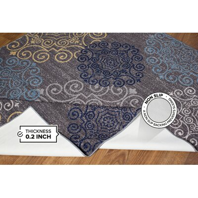 Tamarack Floral Swirl Gray Area Rug Rug Size: 17 x 25