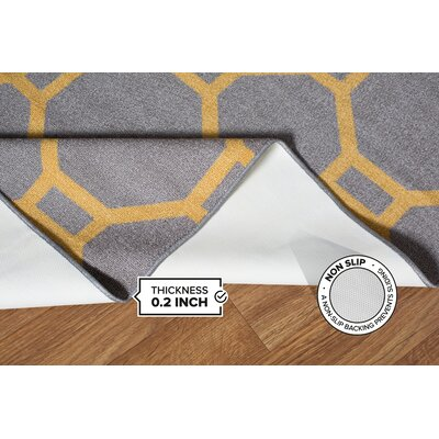 Walmsley Geometric Gray/Yellow Area Rug Rug Size: 17 x 25