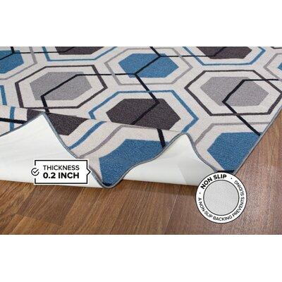 Roxbury Geometric Stripe Blue Area Rug Rug Size: 17 x 25