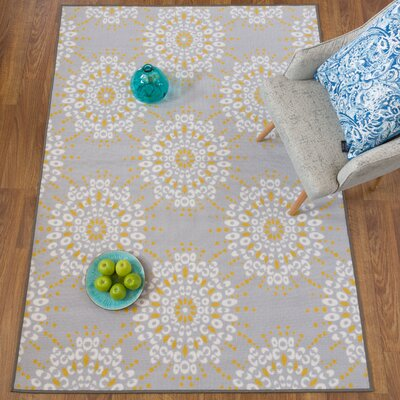 Donatien Contemporary Circles Design Non-Slip Gray/Yellow Area Rug Rug Size: Rectangle 5 x 7